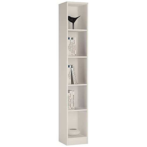 furniture to go 4 you tall narrow bookcase with melamine pearl white - Tall Narrow Bookshelves