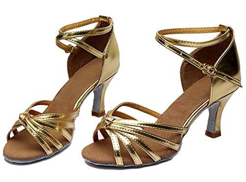 Talon De Pour Or Latin Danse Chaussures Lanière Paillettes Rond Dame Femme Boucle Cheville Bout Minetom Bas txBY4gwAWq