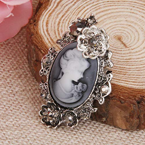 Vintage Cameo Brooch Pin Antique Silver Gold Wedding Charm Portrait Brooch (Pattern - 6#) ()