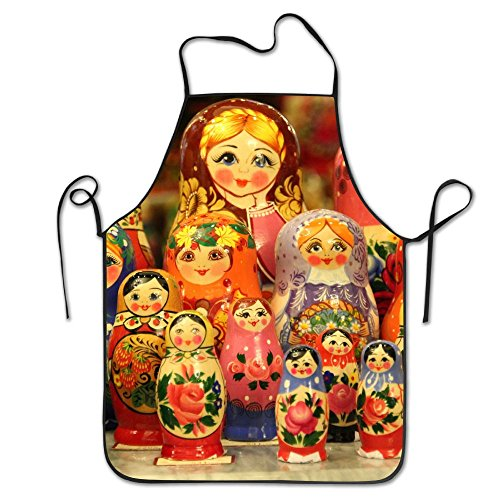 Russian Matryoshka Doll Pattern Kitchen Cooking Apron For Women And Men - Adjustable Neck Strap - Restaurant Home Kitchen Apron Bib For Cooking, Grill And Baking, Crafting, Gardening, BBQ