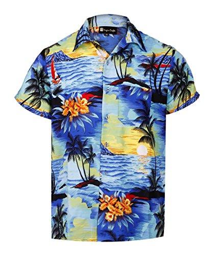 Virgin Crafts Hawaiian Shirts for Men Casual Button Down Short Selvee Beach Party Alloha Shirt Blue]()