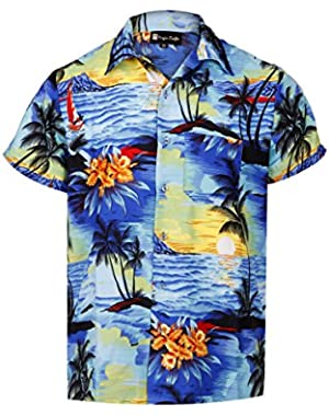 Men's Short Sleeve Hawaiian Collar Button Down Beach Print Summer Vacation Shirt