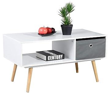 Table Basse Blanche Avec Tiroir.Asuuny Table Basse Moderne 2 Compartiments Avec Tiroir Pour Salon 90 X 48 X 47 Cm Blanc