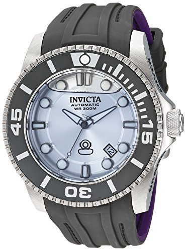 Automatic Rubber Band - Invicta Men's 'Pro Diver' Automatic Stainless Steel and Silicone Diving Watch, Color:Grey (Model: 22991)