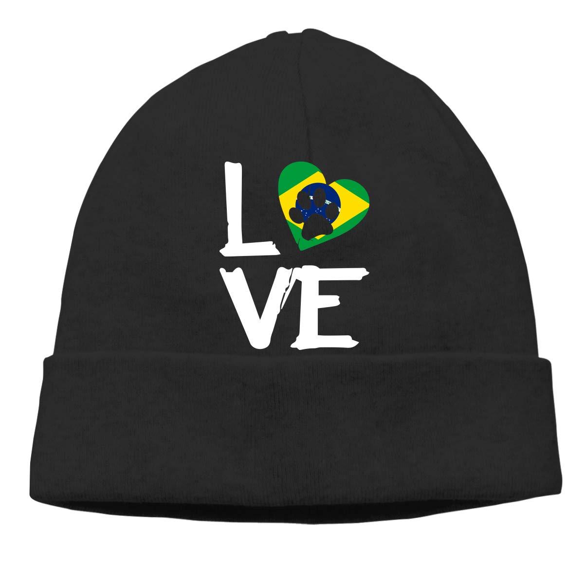 Love Paw in Heart Brazil Flag Men and Women Helmet Liner Winter Ski Beanie Skull Cap
