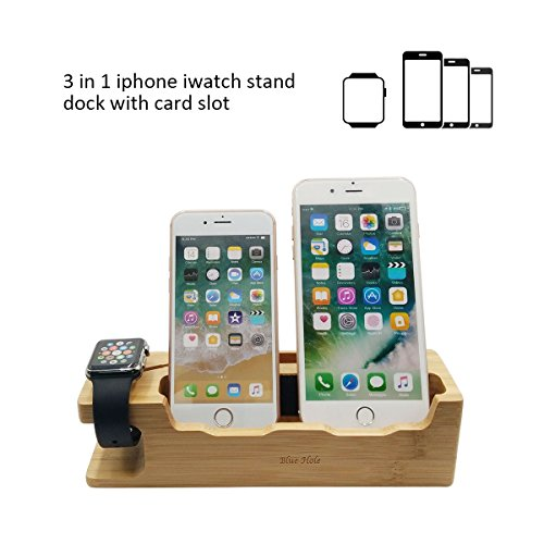 Blue Hole iPhone & Apple Watch Charging Dock, 3 in 1 Bamboo Wood Charging Stand Dock Station Cradle Bracket Mount Holder for Apple Watch (38 & 42 mm) iPhone Smart Phone with Card Slot by Blue Hole