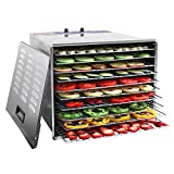 WYZworks 1200W Stainless Steel Food Dehydrator with 10 Trays and Temperature Control