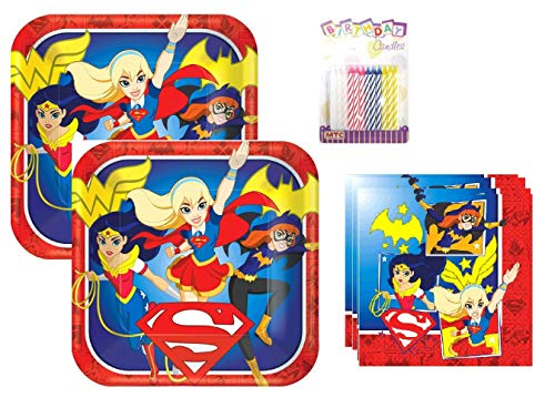 Lobyn Value Pack DC Super Hero Girls Party Plates and Napkins Serves 16 With Birthday -