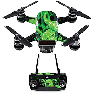 MightySkins Skin Compatible with DJI Spark Drone & Controller - Green Flames | Protective, Durable, and Unique Vinyl Decal wrap Cover | Easy to Apply, Remove, and Change Styles | Made in The USA