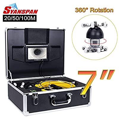 "Pipe Inspection Camera,SYANSPAN 360 Degree Rotation Drain Sewer Pipeline Industrial Endoscope with Sony 7""Color LCD Monitor Waterproof IP68 HD 1000TVL Snake Video Camera System(20/50/100M)"