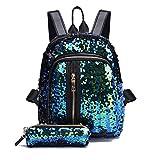 Creazy Girl Sequins School Bag Backpack Travel Shoulder Bag+Clutch Wallet (Sky Blue)