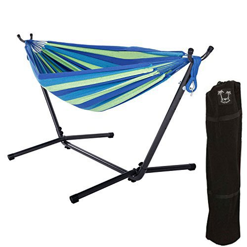 OnCloud Double Hammock with 9 FT Steel Stand Space Saving Portable Carrying Case (Yellow Blue)