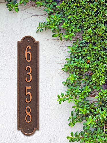 The Richmond Vertical Address Plaque. Personalized Cast Metal Sign. 11 Colors Available! Custom House Numbers by Metal Address Sign (Image #1)