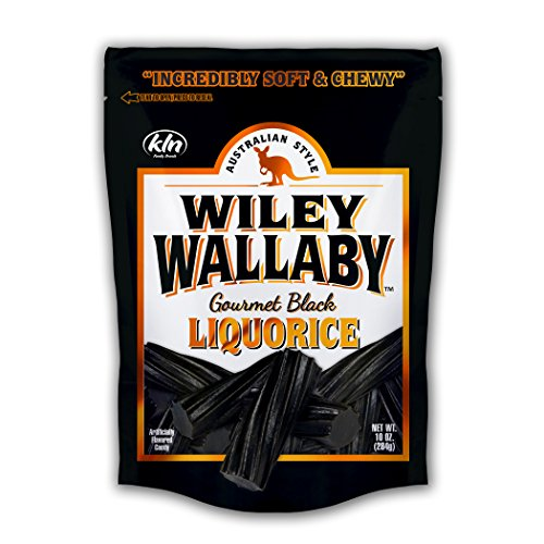 Black Calories Licorice (Wiley Wallaby Australian Style Gourmet Licorice, Soft and Chewy Candy, Fat Free, Low Calorie, Low Sugar, Kosher, Vegan, 10 oz Resealable Bags, 4 Count (Black Licorice))