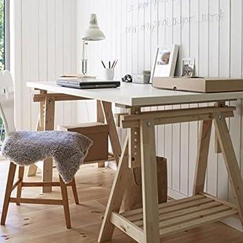 Ikea Linnmon White Desk Table 59x30u0026quot; With 2 Beech Wood Brown Trestle  Shelf Legs Height