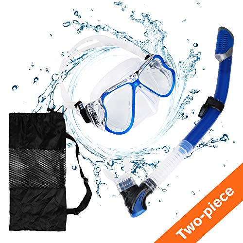 Aritan Snorkeling Snorkel Package Set, Anti-Leak Anti-Fog Coated Glass Diving Panoramic View Clear Tempered Glass Mask, Dry Top Soft Mouthpiece Snorkel Tube, Snorkeling Gear Bag (Blue, Two-Piece)