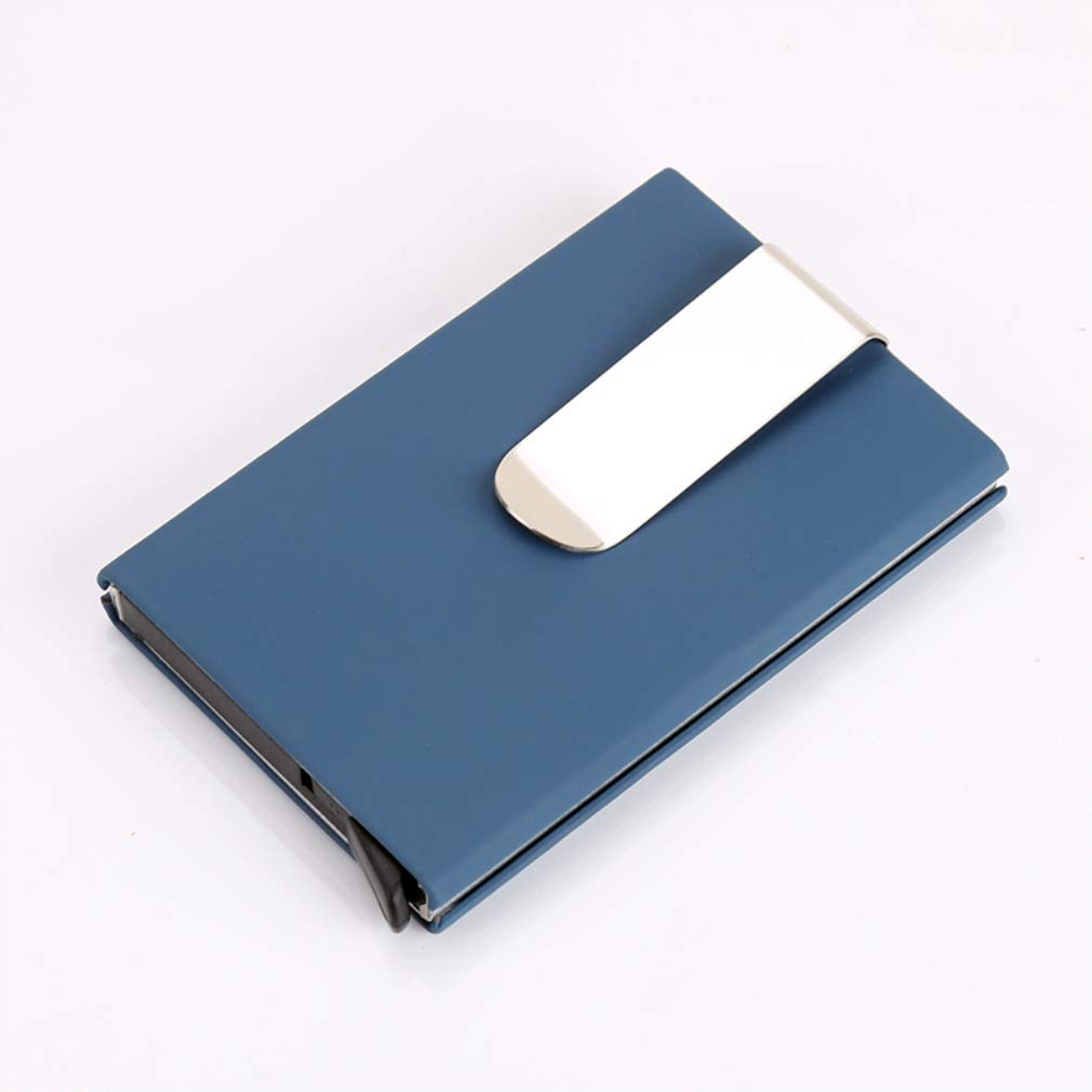 RFID Blocking Credit Card Holder, XSLEGO Business Card Holder Protector Magic Pop Up Aluminum Wallet Money Clip (Blue)