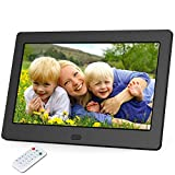 Digital Photo Frame 7 Inch Display Photos with Background Music 1080P Video, Digital Picture Frame with HD IPS 180 Degree Wide Viewing Angle with Remote Control, Support USB SD Slot Black