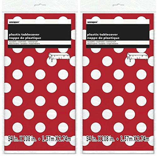 2 Pack Polka Dot Plastic Tablecloth, 108 x