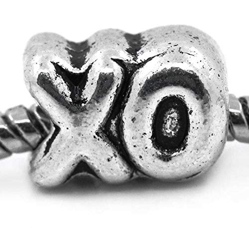 Unique Fashion Charms and Bracelets XO Kiss & Hug Symbol Love Girlfriend Wife BFF Gift Spacer Charm for Bracelets