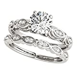 1/2 Ct. Halo Diamond Engagement Bridal Ring Set 10K Solid White Gold