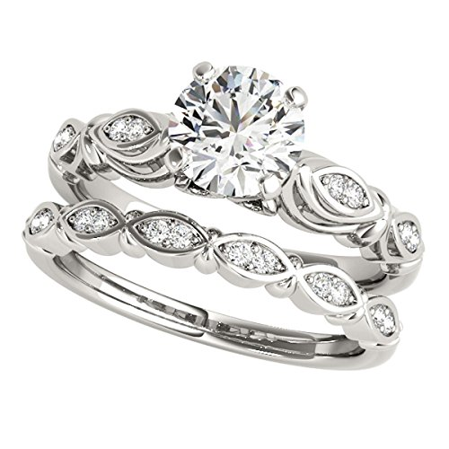(MauliJewels 1/2 Ct. Halo Diamond Engagement Bridal Ring Set 10K Solid White Gold)