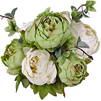 Luyue Vintage Artificial Peony Silk Flowers Bouquet, New Green