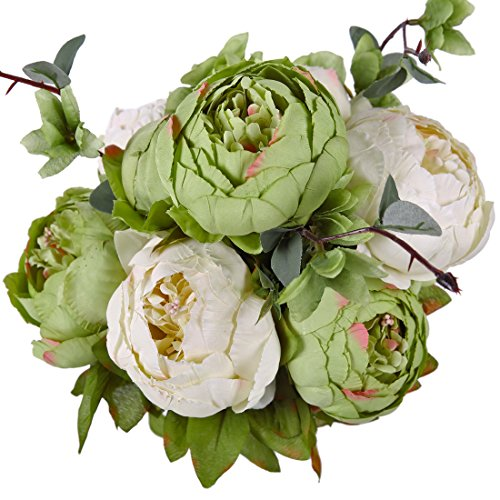 Flower Green Arrangements (Luyue Vintage Artificial Peony Silk Flowers Bouquet, New Green)