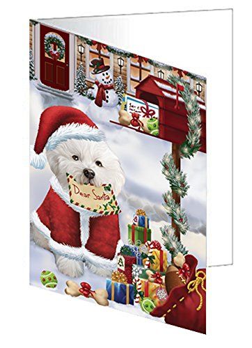 Bichon Frise Dear Santa Letter Christmas Holiday Mailbox Dog Greeting Card - Cards Frise Christmas Bichon