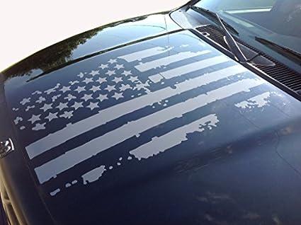 Distressed American Flag Truck Hood Vinyl Decal Dark Grey