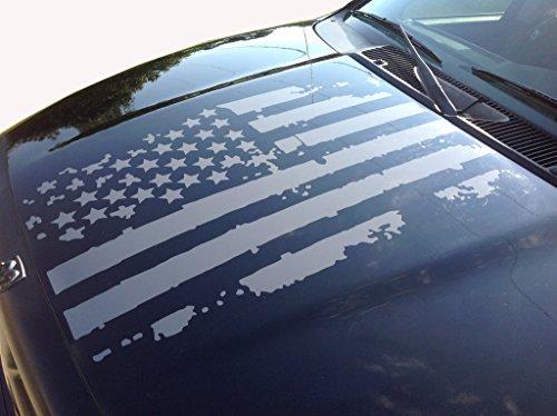 Distressed American Flag Truck Hood Vinyl Decal Gloss Black