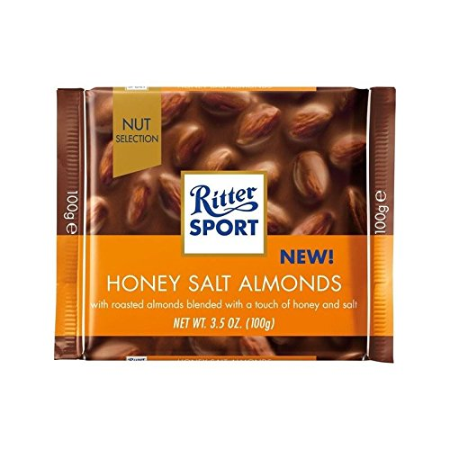 Ritter Sport Nut Perfection Honey Salted Almonds Milk Chocolate 100g - Pack of 4
