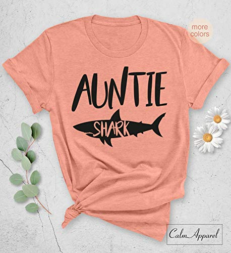 Auntie Shark T-shirt, Gift Shirt for New Aunt, Funny Graphic Letter Printed, Unisex Tops ()
