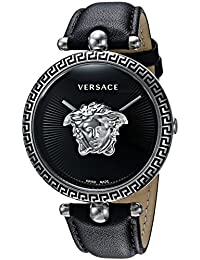Women's 'Palazzo Empire' Swiss Quartz Stainless Steel and Leather Casual Watch, Color:Black (Model: VCO060017)