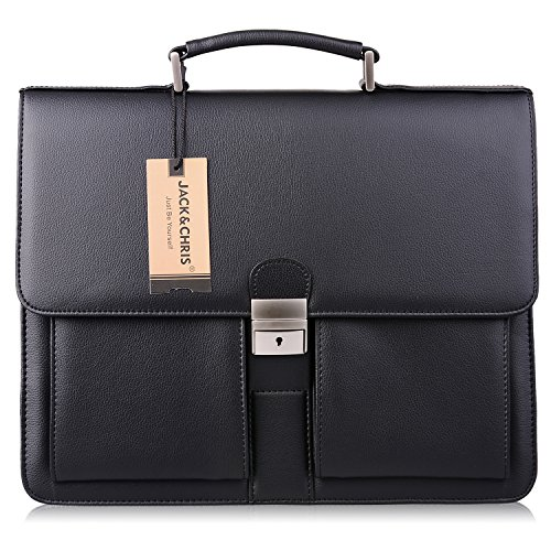 Amazon.com | Jack&Chris Mens New PU Leather Briefcase Messenger ...