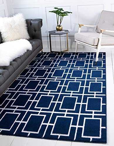 Unique Loom Marilyn Monroe Glam Collection Textured Geometric Trellis Navy Blue Silver Area Rug (2' 0 x 3' 0)
