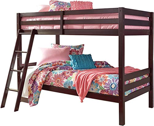 (Signature Design by Ashley Halanton Dark Brown Twin Over Twin Bunk Bed with Ladder)