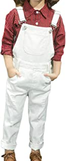 Hajotrawa Boys Girls Casual Overalls Bib Suspender Pockets Long Pants Trousers