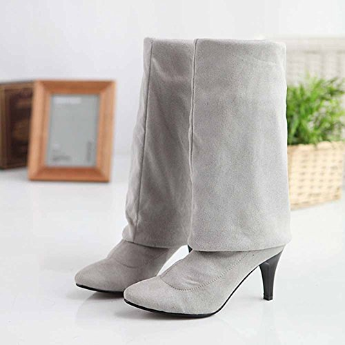 Chfso Mujeres Sexy Stiletto Sólido Impermeable Gamuza Pull On High Heel Over The Knee Botas De Invierno Gris