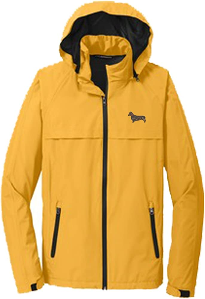 YourBreed Clothing Company Dacshund Brown Mens Rain Jacket