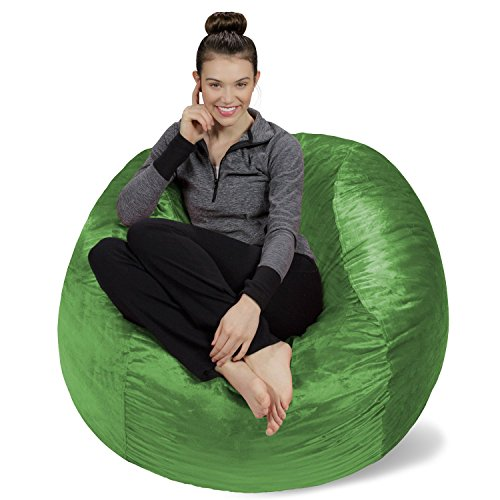 Sofa Sack - Plush, Ultra Soft Bean Bag Chair - Memory Foam Bean Bag Chair with Microsuede Cover - Stuffed Foam Filled Furniture and Accessories for Dorm Room - Lime 4'