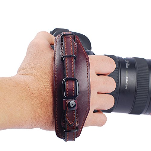 IMZ Leather Hand Grip, Beautiful Crafted & Unique Handmade Wrist Strap + Metal Quick Release Plate for SLR DSLR Cameras: Nikon Canon Sony Pentax Olympus Panasonic - E6 Wine