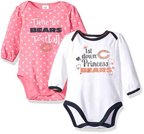 NFL Chicago Children Girls 2 Pack Long sleeve Bodysuit, 3-6 Months, Bears