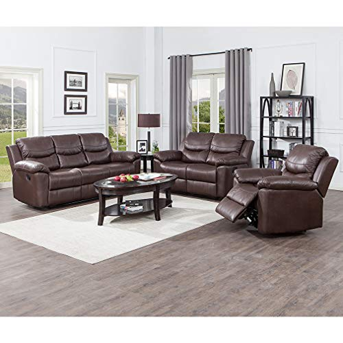 JUNTOSO 3 Pieces Recliner Sofa Sets Bonded Leather Lounge Chair Loveseat Reclining Couch for Living Room - Chocolate (Living Sets Sale Leather Room)