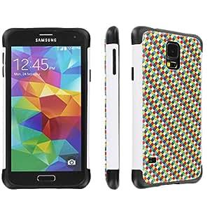 Samsung Galaxy S5 Hybrid Dual Layer Tough Designer Case By SkinGuardz - (Xmas Block White & Black)