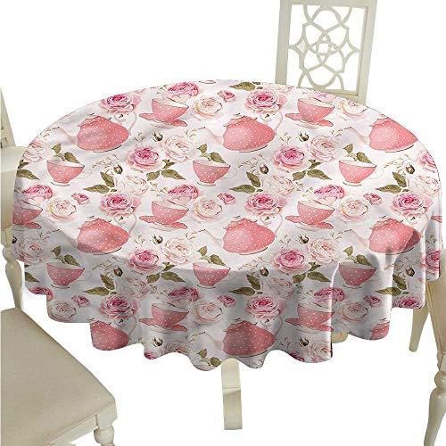 (ScottDecor Fabric Tablecloth Floral,Vintage Tea Cups Roses Tassel Tablecloth Round Tablecloth D)