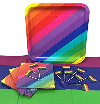 Rainbow Party Supplies Bundle for 16 Guests Paper Plates Napkins Tablecover and Rainbow  sc 1 st  Amazon.com & Amazon.com: Rainbow Party Supplies Bundle for 16 Guests: Paper ...