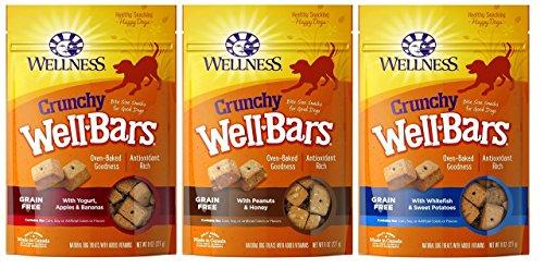 (Wellness WellBars Grain Free Crunchy Treats For Dogs 3 Flavor Variety Bundle, 1 each: Yogurt Apple Banana, Peanut Honey, Whitefish Sweet Potato, 8 Ounces)