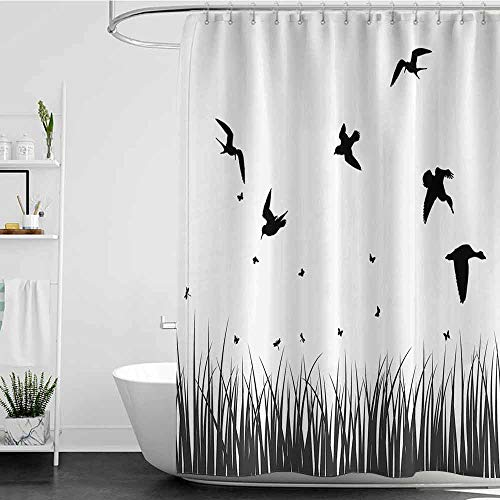 homecoco Shower Curtains Cherry Blossom Nature,Silhouette of Grass Bush with Birds Flying on Sky Rural Countryside Foliage Image,Black Grey W72 x L72,Shower Curtain for Shower stall