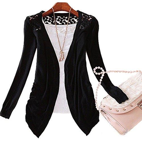 Best-topshop Women Lace Cardigan Sweater Sweet Candy Color Crochet Knitwear Coat (Black) (Cardigan Candy)